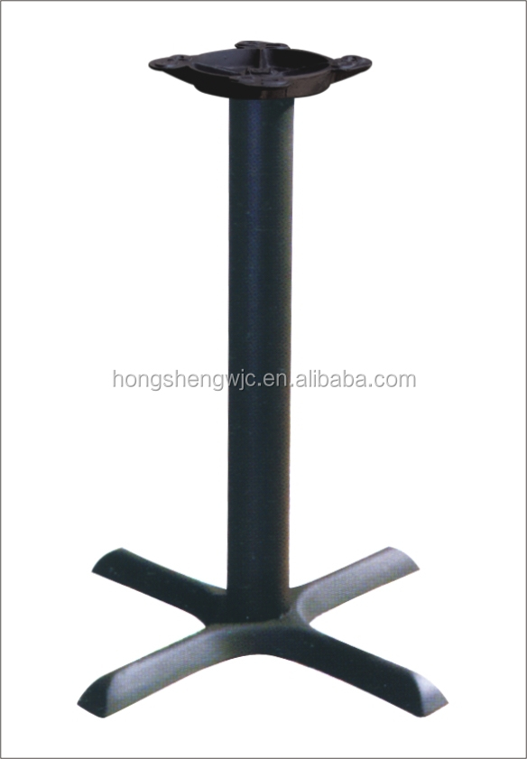Cross shaped wrought iron dining table base table leg for Wrought iron table legs bases