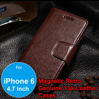 Luxury Magnetic Retro Genuine Yak Leather Folio Business Wallet Stand Holster Case for iPhone 6