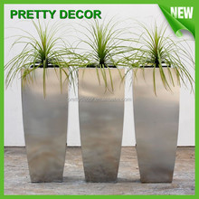 Tall Tapered Square Stainless Steel Flower Planter for garden decoration