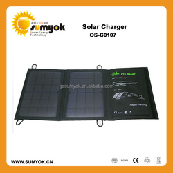 waterproof Fabric material 7 watts folding solar charger, foldable solar case with 5V