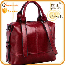 Waxy leather tote bag hot trending purse ol style women bag factory supplier