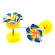 Yellow & Blue Tropical Flower Fake Ear Plug Body Piercing Jewelry