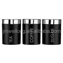 High Quality Set of 3 Black Metal Jar Pot Canister Set Container/Storage Kitchen Red Black_Stainless Steel Lid