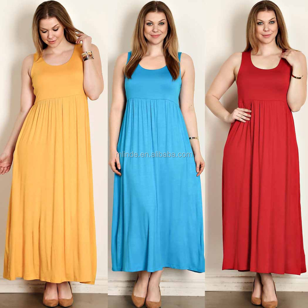 Plus Size Women Clothing Solid Jersey Knit Maxi Tank Dress Designer ...