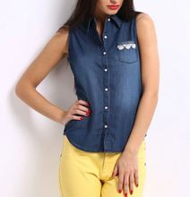 MAIN PRODUCT!! Top Quality best selling denim shirt women from China workshop