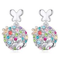 latest flower design platinum plated swarovski earrings with multicolor crystal