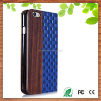 New blue elegant for iPhone 6/6plus leather wallet flip case with real wood, stand leather phone cases