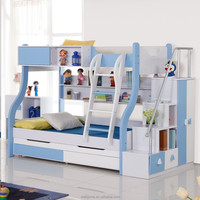 2015 hot sell modern children bedroom furniture functional bunk bed 4 colour