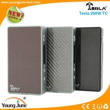 2015 Youngjune box mod electronic cigarette Tesla 200w TC box mod with large vaporizer from China wholesaler 200W TC