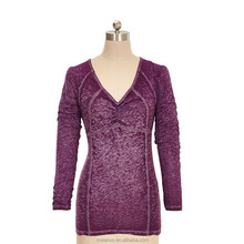 65/35 T/C Jersey Ladies Burnout L/S V neck T Shirts