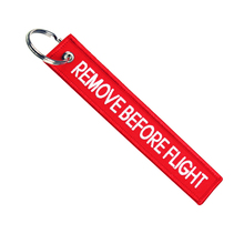 Remove Before Flight Embroidery Keychain Patches, ribbon webbing fabric remove before flight keychain key chain tag keyring
