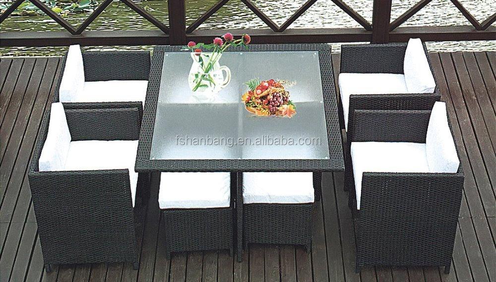 Ahorro de espacio jardín Cubo de mimbre set mesa de comedor al aire ...