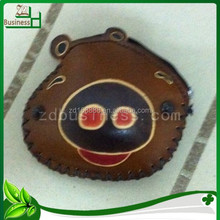Chinese traditional handmade genuine leather coin holder for pig model