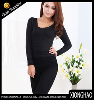Women sexy balck lowest thermal long johns with lace neck