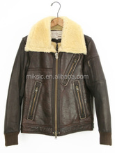 BROWN COLOR CHEEP MEN'S CASUAL SHEEPSKIN FUR JACKET