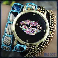 New fashion cute handcrafted women watch african market best selling layer leather watchband colorful kiss pattern luxury watch