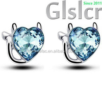2015 Hot promotion brand 18KGP Austrian crystals simple fresh new pussy cat lovely delicate earrings, Fashion Jewelry, Women