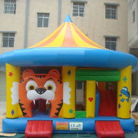 Happy hot air bouncer inflatable trampoline cartoon amusement park, inflatable bouncer/inflatable jumping castle
