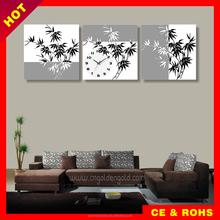 Customizable design home art bamboo painting clock