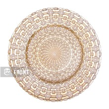 "DAYA wholesale cheap eletroplate13"" chain pattern gold big decorative round glass charger plate"