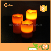 Real Wax Battery Operated Flameless Pillar Candles Set Red Colored Wax With A Soft Pale Yellow Flame Weddings Parties