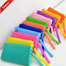 Wholesale stylish ladies silicone bag with zipper cheap silicone phone bag silicone coin purse pantone colors for choose