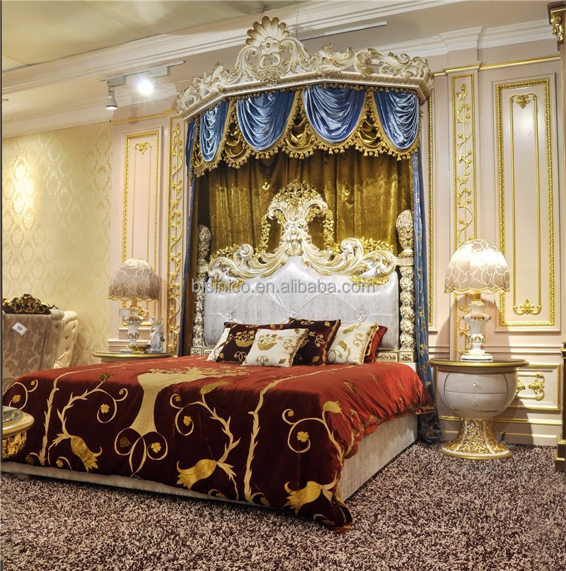 Royal crown upholstery canopy bedroom set italian style - Elegant canopy bedroom sets ...
