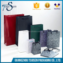 2016 new custom full color shopping paper bags gift packaging bag with cotton handles