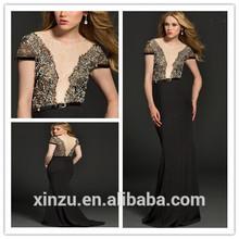 de lujo de manga corta negro de encaje gasa de cuentas sirena desfile vestido de noche 2014