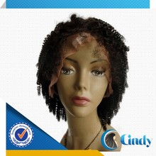 Natural color 100% brazilian remy afro kinky short human hair wig for black women