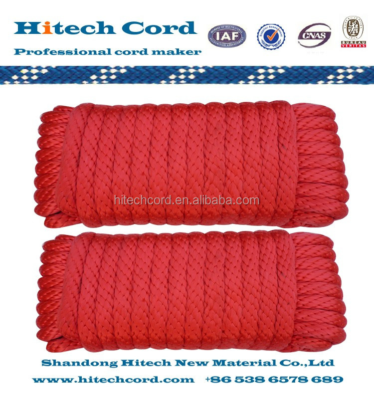 Red color solid braided rope in hank