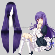 High Quality 100cm Long Straight Umineko no Nakukoroni Purple Synthetic Anime Wig Cosplay Hair Wig Party Wig