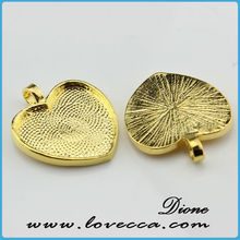 Antique Brass Color Heart Bezel With Glass Cabochon 25mm - Pendant Kit, Heart Shape Pendant Tray