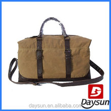 Brown custom canvas tote travel bag with leather handle