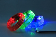 Light UP Motion Or Sound Activated LED Bracelet For Promotional Gift, Pubs, Concert, Holidays, Night Racing Or Party Usage