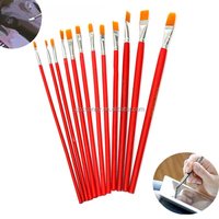 12Pcs Red Set Paint Brushes Different Shapes Nylon Hair Brush Oil Watercolor Collection Of Arts Supplies For Children