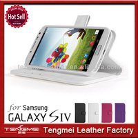 White Leather Wallet Purse Smart Case Cover Stand With Auto Wake Up Sleep Function For Samsung Galaxy S4 i9500