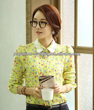 2014 Hot ladies korean fashion casual chiffon blouses with plus size wholesale clothing