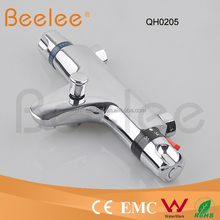 Brass thermostatic shower facuet wall tap mixer with divertor
