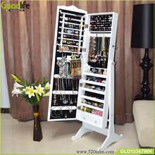 Hot sale standing wooden jewelry cabinet mirror dresser