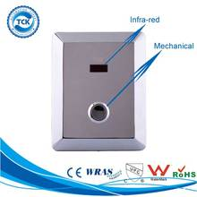 Concealed type stainless steel material touchless automatic toilet flush valve with mechanical manual button