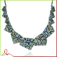 high quality latestdesigns wholesale cheap handmade craft acrylic beads necklace with steel chain