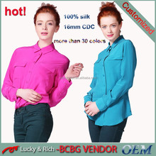 direct factory OEM service custom pure silk shirt women wholesale