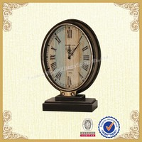 Table antique metal clock brown