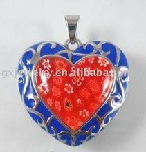 murano glass jewelry,red heart pendant P00431