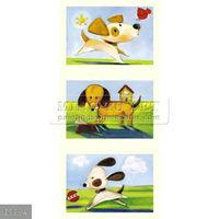 handmade cartoon dog oil painting on canvas for kids room decoration, children art 1201