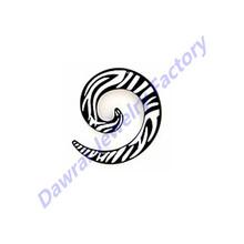 DAR UV Acrylic Black Laser Print Spiral Ear Plug With Zebra Ear Swirl Taper Gauges Body Piercing Jewelry