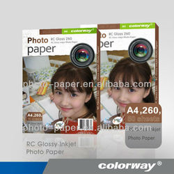 Inkjet 4x6 260g RC high glossy a4 photo paper lucky inkjet waterproof photo paper 4r