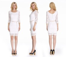 2015 New Fashion White Lace Long Sleeves Women Dress