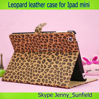 Animal print leopard flip leather case for ipad mini, for ipad case leather ,for ipad mini case flip